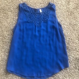 Royal blue sleeveless blouse